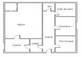 1 Chambre, dressing,  Salon, Cellier,  Appartement Location Rue Neuve 2ème étage  sur 2 étages, THOREY EN PLAINE